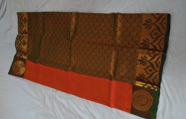 Kancheepuram Pure Silk Orange With Green Border PS00071