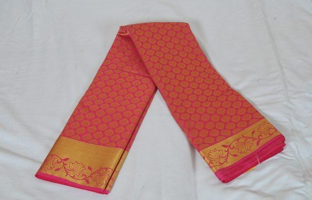 Kancheepuram Art Silk Saree Pink With Gold Border AS008