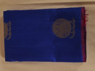 Kancheepuram Pure Silk Saree Navy Blue With Magenta Border PS00035