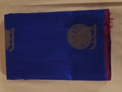 Kancheepuram Pure Silk Saree Navy Blue With Magenta Border PS00035