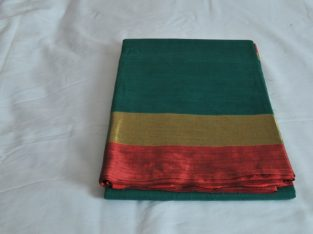 Green With Metallic Red & Gold Border Mixed Cotton Saree MCS00054