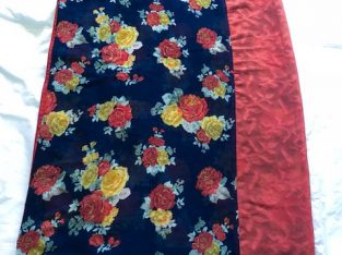 Hald and half Orange Dark Blue Designer Saree FLOWER with ready made blouse