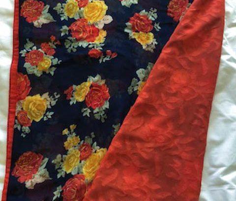 Hald and half Orange Dark Blue Designer Saree FLOWER with ready made blouse