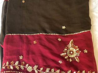 Dark Brown and Marron Georgette Saree